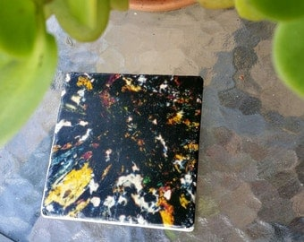 Marble tile coaster with mineral photo