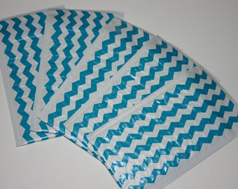 25 4x8 Teal Chevron Poly Bubble Mailers Size #000 Self Sealing Padded Shipping Envelopes Spring Easter