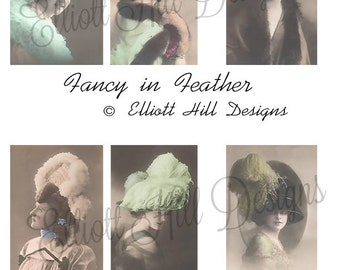 Fancy In Feathers Vintage Ladies in Hats Ditgital Collage Sheet