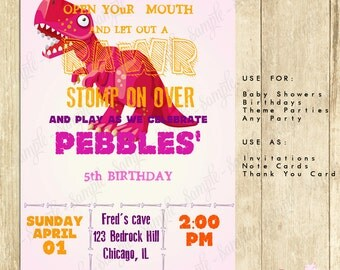 Dinosaur First Birthday Party Invitations, Dinosaur Birthday Party Invites in Hot Pink, Dino First Birthday Party Invitation, 0075-P