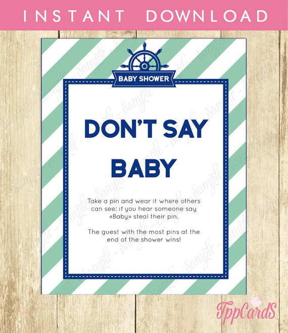 Don't Say Baby Game Baby Shower Games Printable Nautical