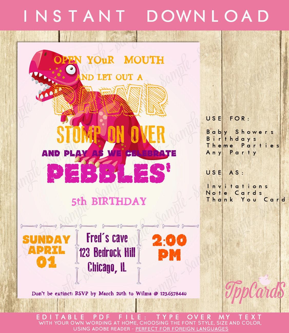 Girl dinosaur invitation dinosaur birthday invitation tppcards share on filmwisefo