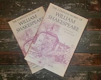 William Shakespeare Complete Works, 2 volume hardcover set, vintage Shakespeare