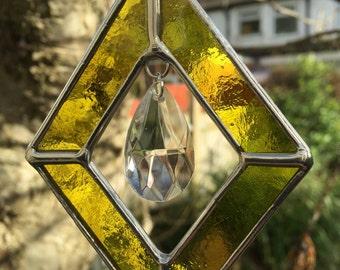 Stained Glass Suncatcher Yellow Colour Art Diamond Shape Color - CRhodesGlassArt