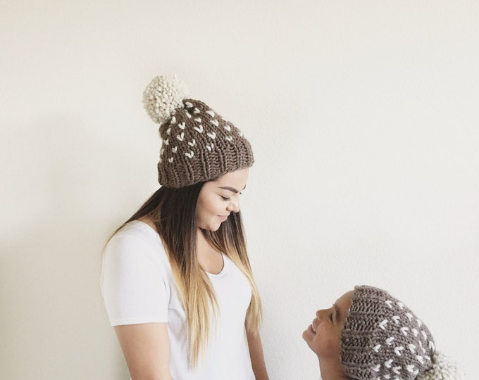 Mama and Me matching Knit Slouchy Beanie Hat With Large Pom Pom//THE TUMBLEWEED SET//Fisherman and Taupe