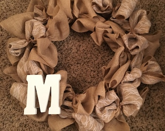 Burlap and Lace Wreath with Initial