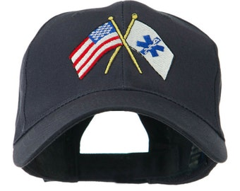 Flags with Star of Life Embroidered Cap