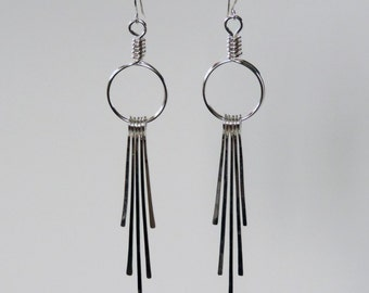 Long Silver Dangles, Statement Earrings, Argentium Sterling Silver Earrings, Silver Fringe Earrings, Long Silver Bar Earrings