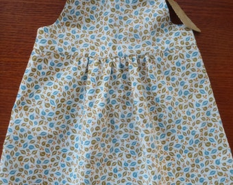 Baby girl dress, reversible dress, two dresses in one, pure cotton,  12-18 mos, vintage + modern fabric, white, tan, blue, green, leaves