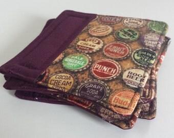 CYBER MONDAY SALE!!   Fabric Coasters-Soda Bottle/Eggplant Fabric