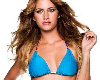 Aguaviva Padded Blue Triangle Bikini TOP ONLY