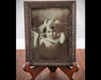 Cupid Awake Photo by M B Parkinson - Antique Print of Josephine Anderson - Edwardian Artwork - Antique Black & White Baby Girl Angel Art