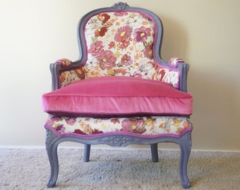 Vintage-Contemporary French Bergere Fuchsia Floral - SOLD