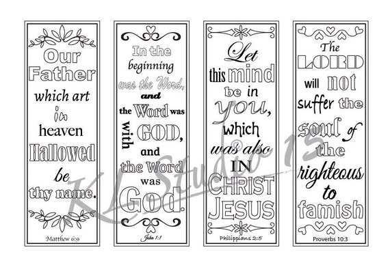 Bible Verse Coloring bookmarks2 Instant Download