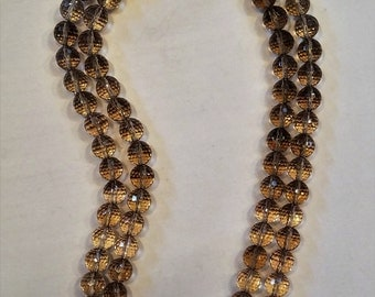 Two-strand Faceted Smokey Quartz with Marcasite Sterling Clasp