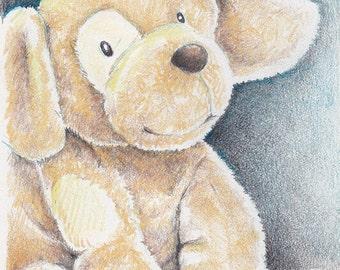 Puppy Toy Art - Puppy Toy Illustration - Art Prints - Nursery Art Prints - Wall Art - Children's Art - A4