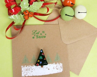 Christmas Card with Handmade Fused Glass & Christmas Tree Brooch by Jessica Irena Smith