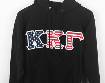Kappa Kappa Gamma American Flag Letter Hoodie Sweatshirt, KKG Letters, Embroidered Letters, Recruitment Gift, Big Little