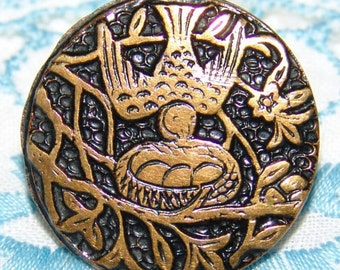 Terrific Antique Brass Button ~ Bird Above a Nest with 3 Eggs ~ Tinted & Textured Background ~