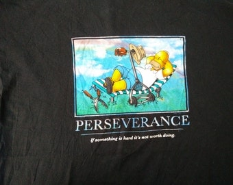 Rare Funny Homer The Simpsons PERSEVERANCE Size L Shirt
