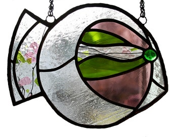 FISH 2 / Pink-Green Fish, Stained glass suncatcher, a unique piece of art