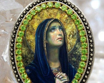 Our Lady of Sorrows or Sorrowful Mother Charm Necklace Catholic Christian Religious Jewelry Medal Pendant, Mater Dolorosa