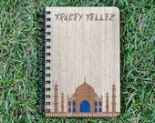 TAJ MAHAL Notebook, Wooden Notebook, Personalized Notebook, Travelers Notebook, A5 Custom Journal, Gift, Spiral Notebook, Name, Sketchbook