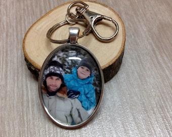 Custom Photo Keychain - Picture Keychain - Personalized Keychain - Photo Jewelry - Gift - Keepsake - Antique Oval