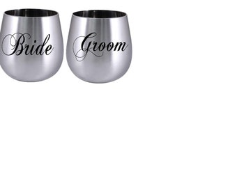Stainless steel wine glass,Bride and groom wine glass, stemless wine glass, stemless stainless steal wine cup, wedding party, mr and mrs