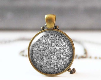 Glitter Necklace, Gray Picture Pendant, 25 mm 1 Inch Round Photo Necklace, Sparkle Necklace, Bohemian Jewelry, Bridesmaid gift, 5015-G