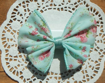 Mint Shabby Rose Bow, Butterfly Bow, Flower Bow, Shabby Chic Bow, Girls Bow, Hair Bow, Hair Accessories