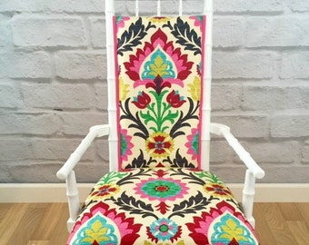 White Wooden Faux Bamboo Pink Yellow Green Suzani Side Accent Upholstered Occasional Vintage Chair