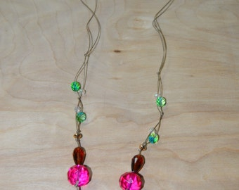 Multi-Color Faceted Glass Beaded Necklace