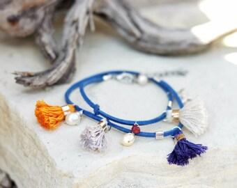 Colorful tassel boho wrap bracelet, Natural freshwater pearls & gemstones suede cord stack bracelet, honey-bee charm, Pretty gift, festival