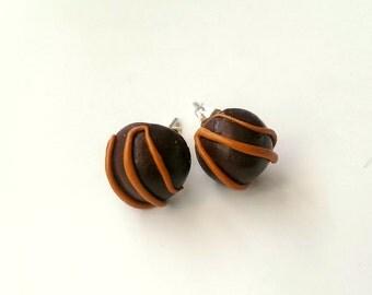 Caramel, Chocolate Earrings, Food Jewelry , Kawaii Jewelry, Candy Jewelry