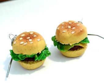 Cheese Burger Earrings, burger earrings, realistic food earrings, polymer clay miniature