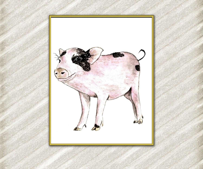 Farm Animal Print Farm Animals Pig Print