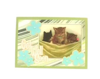 Get Well Soon Card, Blank Inside, Victoriana, Kitten 5x7, Kittens, Vintage-Victorian Inspired, Handmade Greeting Card, TwoSistersGreetings