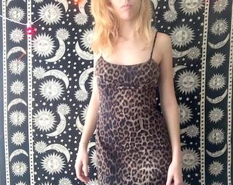 80s / vtg / Leopard Print Dress / grunge / bodycon dress / midi dress / size medium (see description)