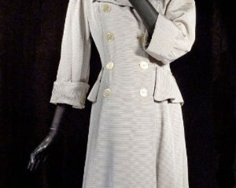 1940s Coat Dress Taupe with Cream Pinstripe Side Peplums Rayon Sz 6-8