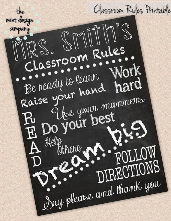 Classroom Rules Teacher Print Chalkboard Theme CUSTOM