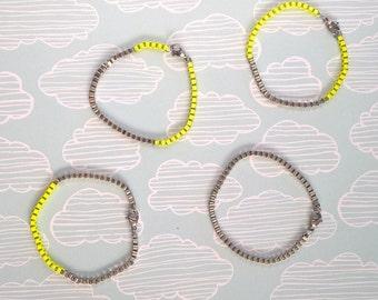 Neon yellow and silver tone box chain bracelet