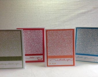 Colorful Set of Hand  Stamped Note Cards