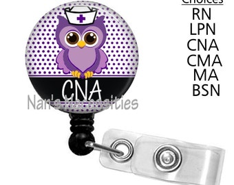 Retractable Badge Holder, Purple Nurse Owl, Retractable Badge Reel, Badge ID Holder, Nurse Badge Reel, Nurse Badge Id Holder