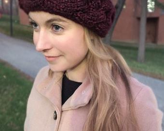 Cable Knit Winter Headband - Maroon