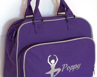 Personalised Dance Ballet Bag - available in purple, pale pink, black/pink and NEW black/white