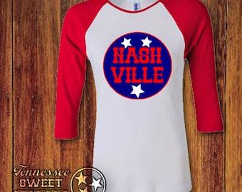 Nashville Raglan Adult Tee, Nashville Made Tee, Music City, Grand Ole Opry, Adult Raglan, Nashville Family Tees, Nashville Born