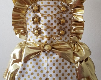 Girls Romper, Birthday Outift,Girls  Polka Dot Romper, Girls Ruffle Romper, Gold Baby Romper, 1st Birthday Outfit , Girls Clothes, Pupolino.