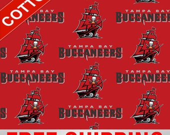 """Tampa Bay Buccaneers Cotton Fabric NFL Style TAM-6488. 60"""" Wide. Free Shipping"""