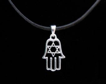 Fatima-Hamsa hand pendant Silver 925 Kabbalah star of David